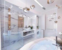 Aranżacja małej łazienki z prysznicem i pralką