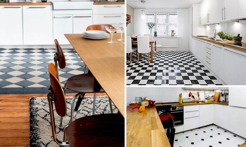 Nowoczesna biała kuchnia z drewnianym blatem jaka podłoga?